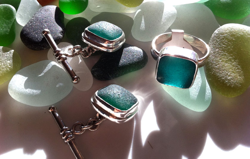 Sea glass cuff links and ring