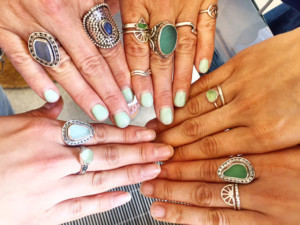 Bettybelts sea glass rings and stacking rings