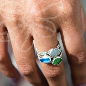 sea glass rings upcycle