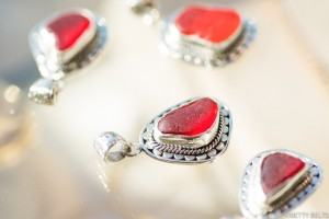 red sea glass upcycled