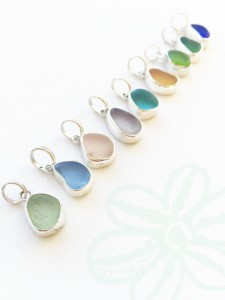 sea glass ear rings upcycled
