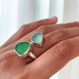 upcycled sea glass sterling silver ring