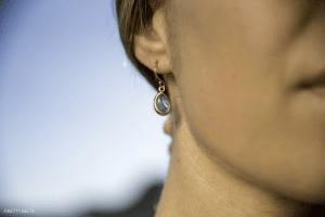 sea glass ear rings